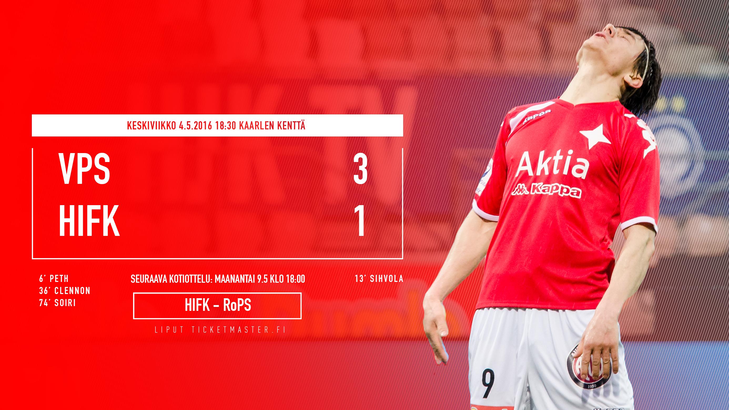 VPS voitti vaisusti esiintyneen HIFK:n – MeMyymmeKotisi.fi otteluraportti