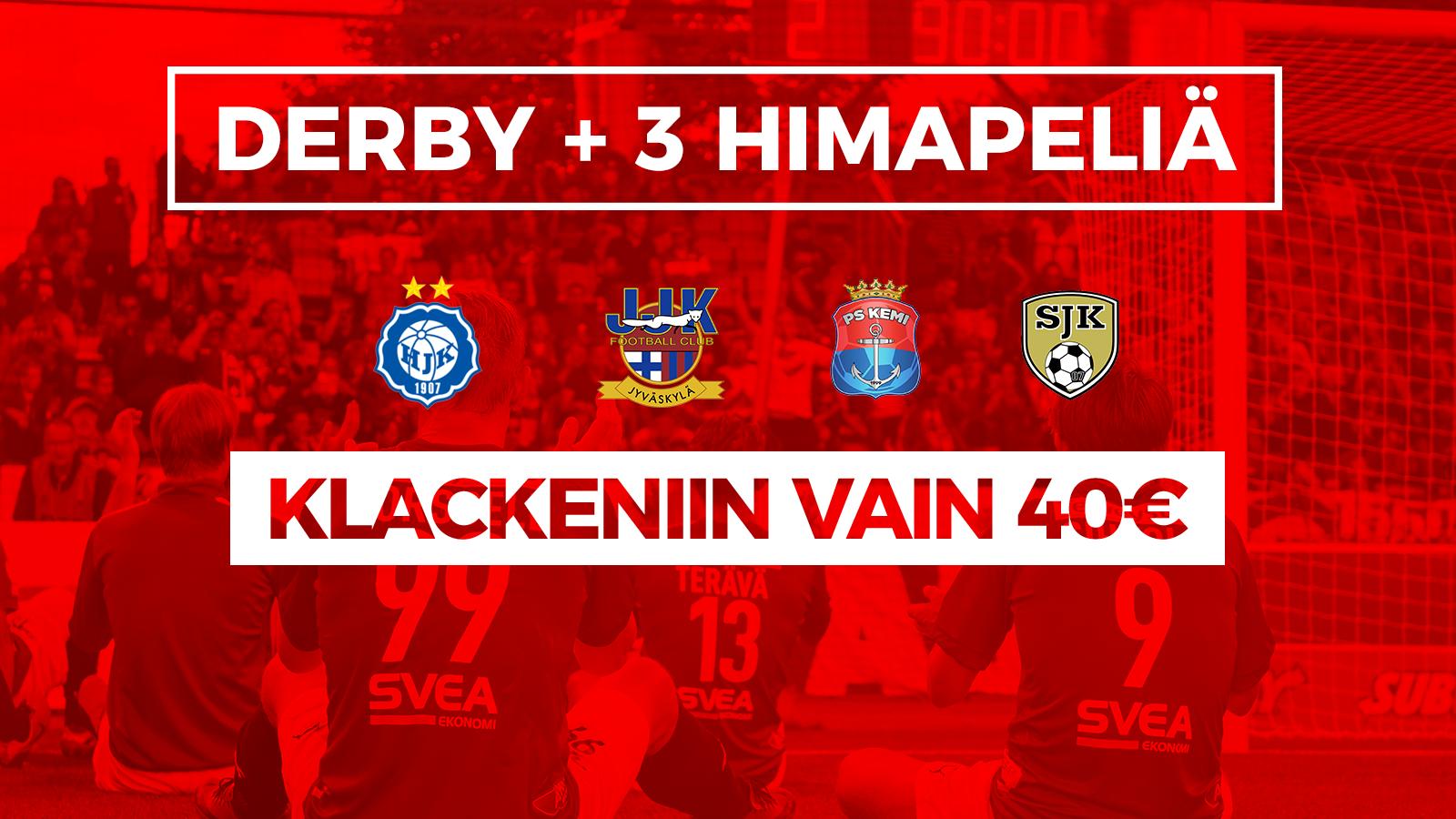 Stadin derby ja <br> kolme kotimatsia <br> vain 40€