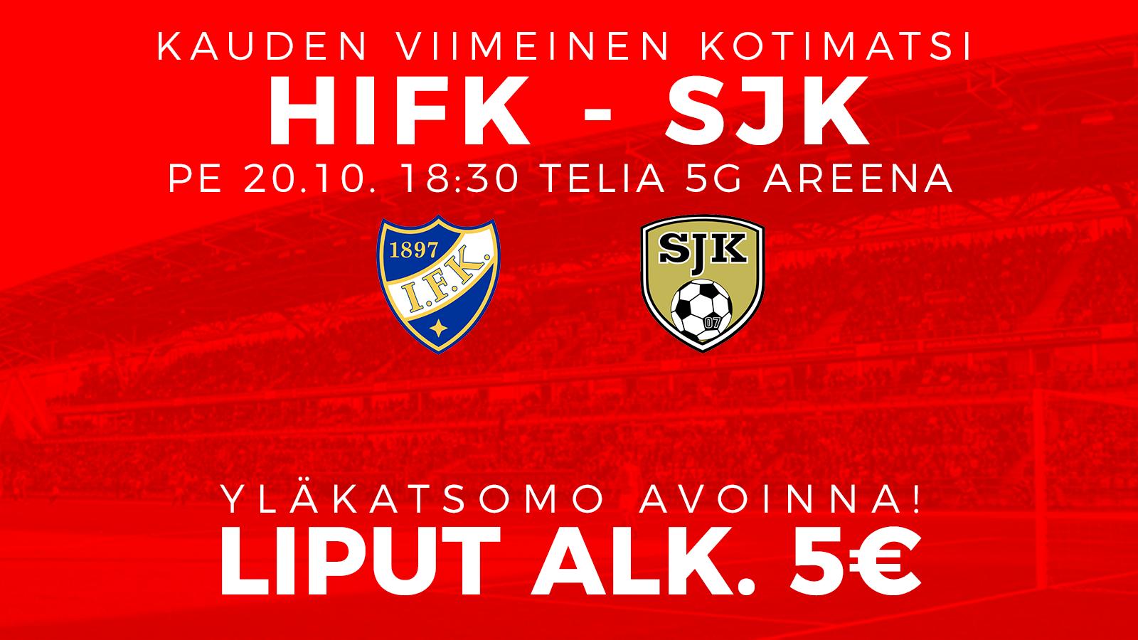 HIFK-SJK perjantaina – liput alkaen 5€/10€