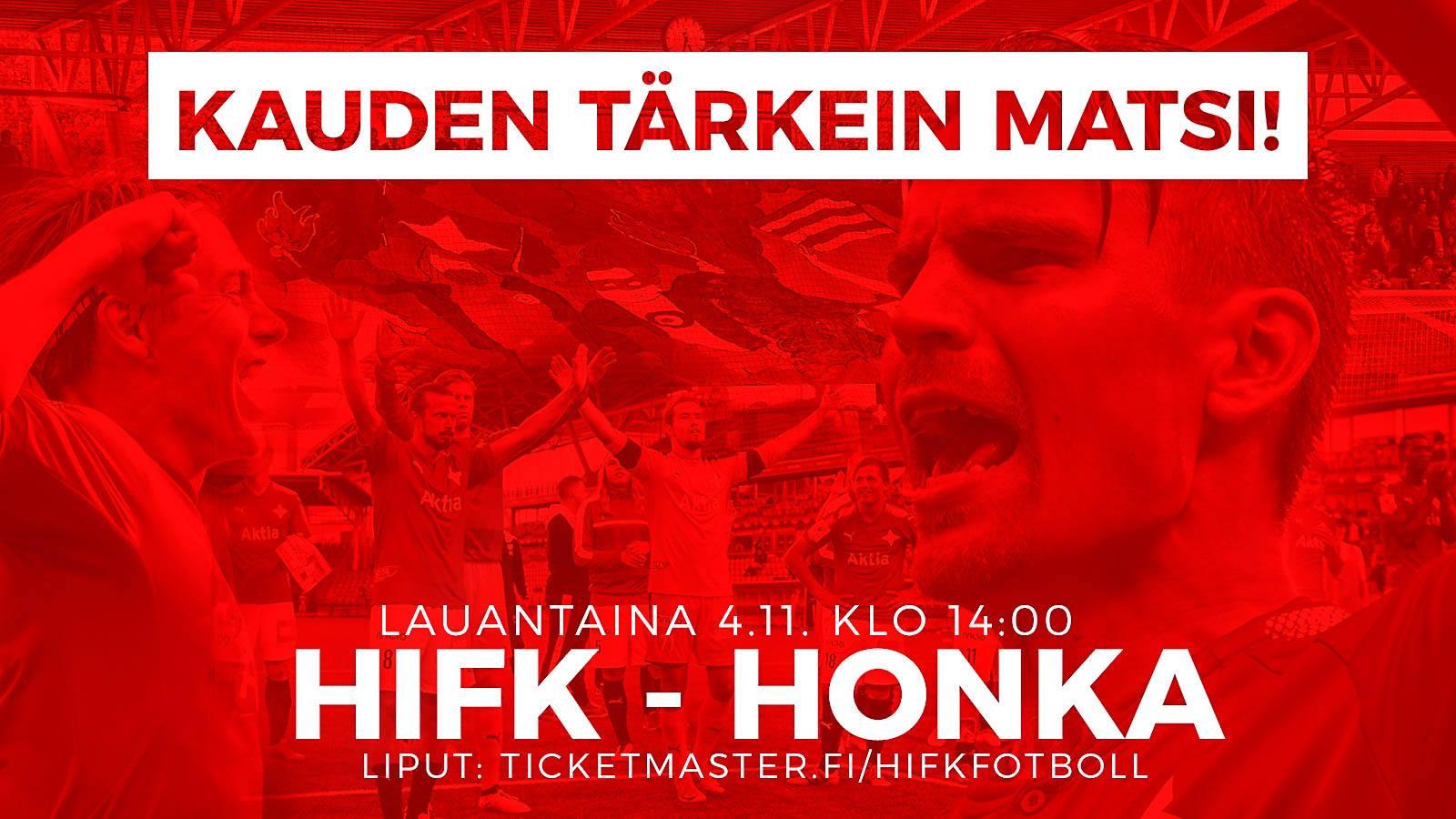 HIFK-FC Honka lauantaina 14:00 – liput Ticketmasterista