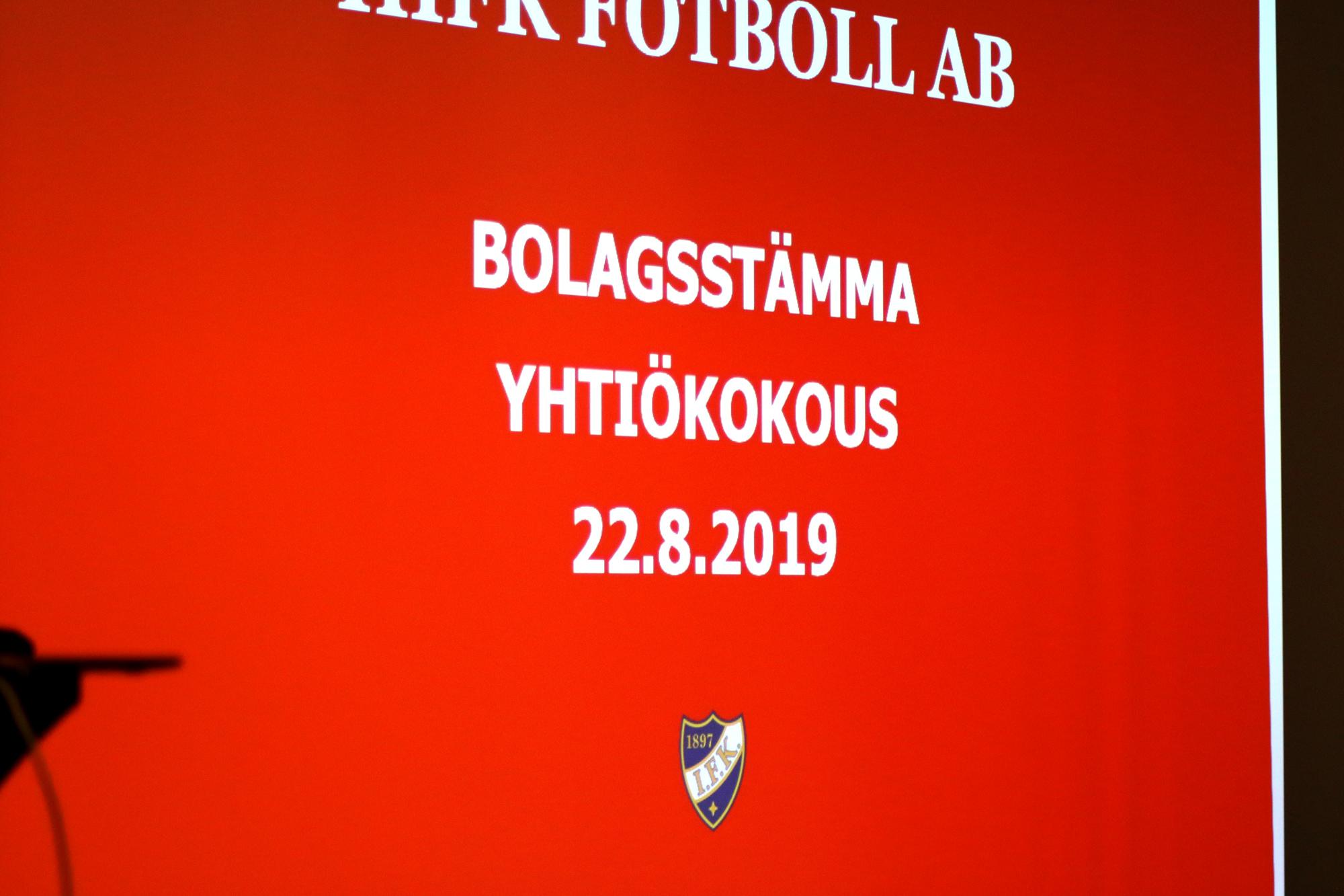 HIFK Fotboll Ab piti yhtiökokouksen 22.8.2019